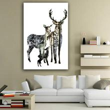 New Simple spray painting transparent elk forest abstract decorative painting dining room study room canvas decoration paintings(China)