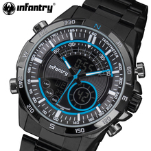 INFANTRY Men Sports Watches LED Display Stainless Steel Aviator Wristwatches Luminous Water Resistant Alarm Clock Relojes Hombre(China)