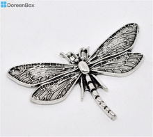 Doreen Box Lovely 10 Silver Tone Dragonfly Charm Pendants 49x31mm (B13103)(China)