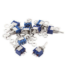 10 Pcs Miniature SPST On/Off/On 3 Positions Latching Toggle Switch AC 125V 6A