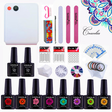 Manicure Set Gel Nail Lamp Nail Art Kits Gel Polish Top Coat And Base Nail Polish Set Nail Extension Set 36W UV Lamp LED Gel(China)