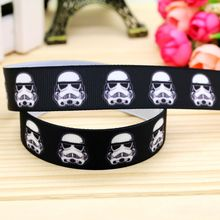 7/8'' Free shipping star war printed grosgrain ribbon headwear hair bow diy party decoration wholesale OEM 22mm B1398(China)