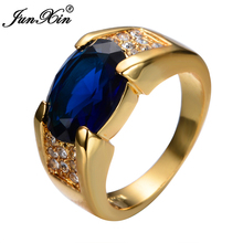 JUNXIN Hot Sale Blue Big Zircon Stone Rings For Women Men Yellow Gold Filled Wedding Party Finger Ring Antique Jewelry