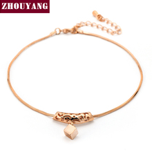 ZHOUYANG Top Quality Hollow Out Rose Gold Color Anklets Jewelry Austrian Crystals Wholesale ZYA030(China)