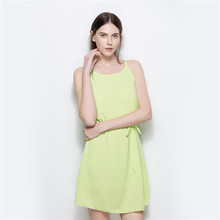 External mold make 5387 # speed sell tong Round collar chiffon  with shoulder-straps Collect waist belt sexy dress