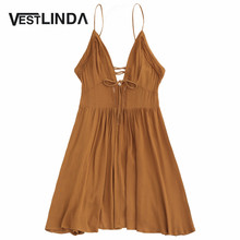 VESTLINDA Summer Boho Mini Dresses Sexy Party Dresses Lace Low Cut Plunge Flowy Silhouette Open Back Beach Dress Vestidos Robes