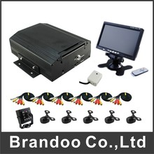 8 channel BUS DVR kits with 6 cameras and 7 inch monitor for bus, train,van,truck used, support Russian menu.(China)