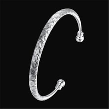 Wholesale 925 Jewelry Sterling Silver Women Bangle Bracelet Nail Pattern Face Bangle Wedding Party Gift