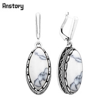 Classic Eye Shape White Blue Stone Earrings For Women Vintage Antique Silver Plated Wedding Party Gift Fashion Jewelry TE151(China)