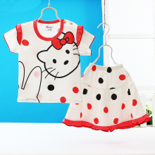 Cartoon hello kitty print baby kids summer clothes sets princess girls children's short sleeve t-shirt and skirt clothing set