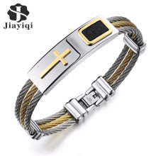 Jiayiqi Fashion Men Bracelet Cross Stainless Steel 3 Rows Wire Chain Cuff Bangles for Men Jewelry Punk Silver Gold Color Gifts(China)