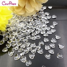 1000Pcs Acrylic Crystal Heart Confetti Beads Scatter For wedding Valentine Decoration