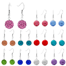 10mm white Black red purple clay lowest price hot new style Disco Ball Silver Plated drop crystal Shamballa Earrings gift