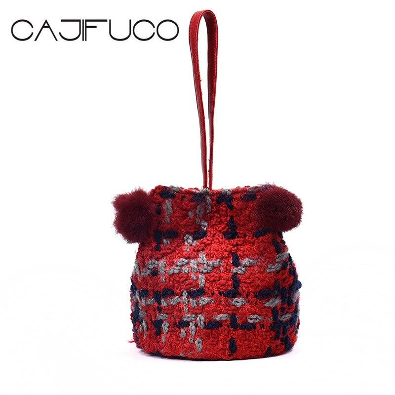 CAJIFUCO Fashion Woolen Bucket Bags Weave Handbag Women Drawstring Bucket Bag Mini Crossbody Bag Sac A Main Bolsa Feminina<br>