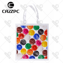 Background of Multi Colored Paint Print Custom Non-Woven Fabric Reausble Grocery Shipping Storage bag Pack of 4