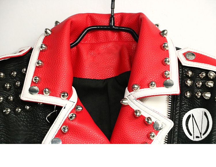 Studded Leather Jacket Women Turn-down collar Leopard Punk Rock Coat