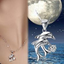 Cute Silver Plated Double Dolphin Rhinestone Pattern Woman Pendant Necklace - Color Blue White Purple Pink