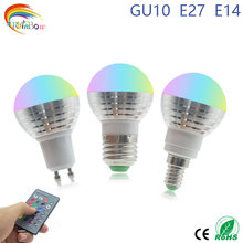 1Pcs E27 E14 GU10 LED RGB Bulb lamp AC110V 220V 5W LED RGB light dimmable magic Holiday RGB lighting+IR Remote Control 16 colors