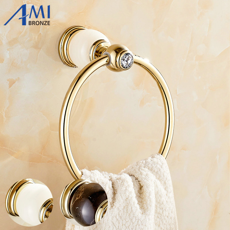 GJade Series Gold Polished Brass Towel Ring With Jade/Marble Wall Mounted Towel Shelf Bathroom Accessories Towel Rings<br>