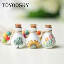 New Design lucky birds perfume Wishing bottle necklace for woman vintage pendant ceramic jewelry Sweater Chains