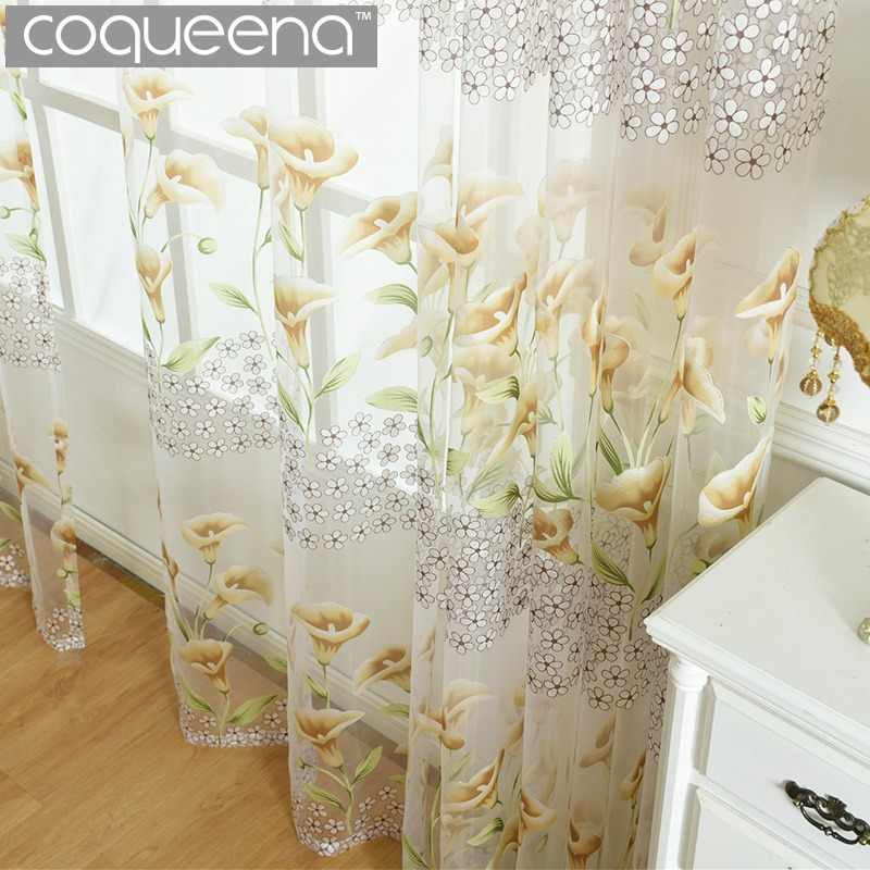 Flora Tulle Curtains for Kitchen Living Room Bedroom Balcony Door Window Sheer Panel Voile Curtain Yellow & Purple Morning Glory