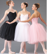 Adult Romantic New Ballet Tutu Dance Rehearsal Practice Skirts Swan Costumes For Women Long Tulle Dresses White Pink Black Color(China)