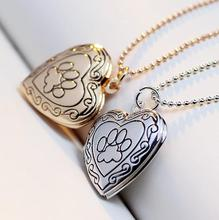YYW Valentine Lover Gift Animal Dog Paw Print Photo Frames Can Open Locket Necklaces Gold-color Heart Pendants Necklace Women(China)