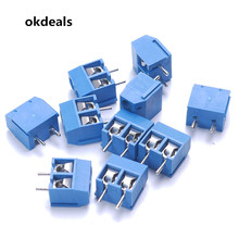 Hot 10pcs 2 Pin 5.08mm Pitch Blue Connect Terminal Block Connector Screw Brand New(China)