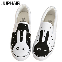 JUP Anime Simpsons Moustache Hat Cat Monster Fish Rabbit Low Hand Painted Graffiti Canvas Fashion Shoes for Men Graff Girls Boys
