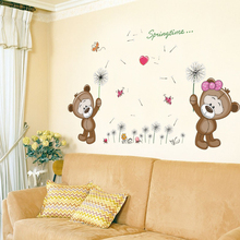 Zs Sticker Brown Bears Wall Sticker for Kids Room Home Decor Nursery Wall Decal Children Baby House Mural(China)