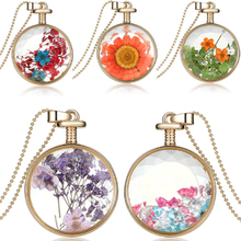 Colorful True Flower Herbarium Charms Necklace Crystal Glass Perfume Bottle Necklace Dry Flower Round Luxury Jewelry Wholesale