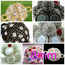 OMH wholesale 5pcs 8mm DIY Jewelry accessories AAA++ Crystal charm European ball Magnetic attract clasp beads PJ376-1(China)