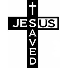 13.5CM*17.8CM Jesus Saved Us Car Truck Boat Window Vinyl Decal Sticker JDM Car Creative Sticker Decoration Black Sliver C8-0924(China)