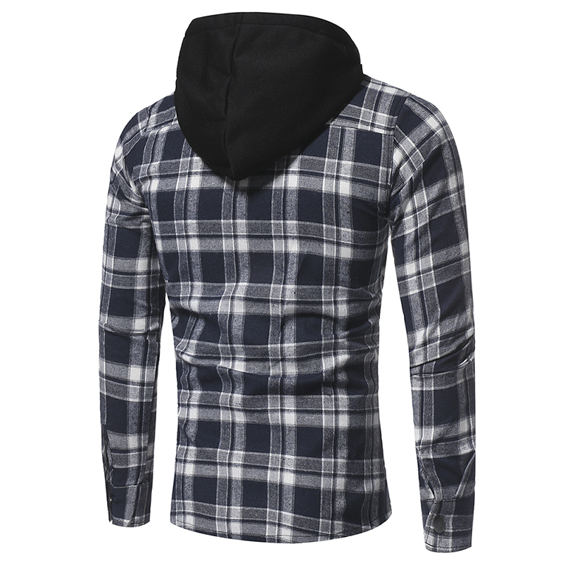 Plaid Shirt 2018 Autumn Fashion Shirts Men Casual Brand Clothing Men Shirt Long Sleeve Casual Lattice Hooded Camisa Social XXXL 9