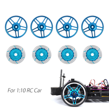 Aluminum Alloy Wheel Hub Rim and Brake Disc Set for 1/10 RC On-Road Racing Model Car 1/10 Parts HSP Sakura HPI Kyosho TAMIYA