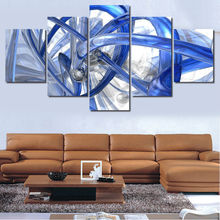 Large HD Modular Pictures 5Pcs Blue Art Figure Picture Wall Art Canvas Oil Painting Artwork Modern Wall Pictures For Living Room