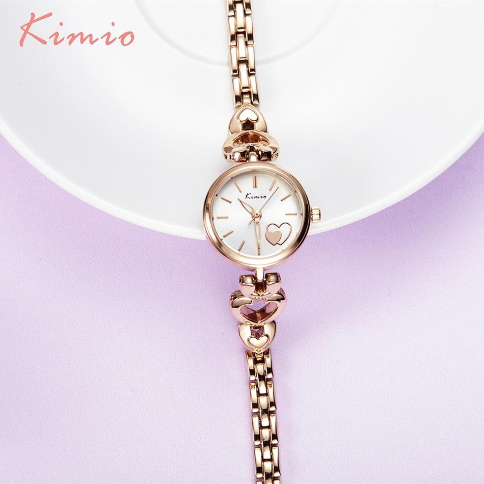 KIMIO Simple Love Pattern Dial Heart Shape Bracelet Watches Women Fashion Watch 2017 Skeleton Pointer Quartz Wrist Watch Woman<br><br>Aliexpress