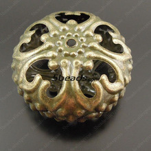 Whole 50pcs Vintage Bronze Tone Iron Flower Lace Ball Bead Jewerly Finding Charm for Man Women 37528