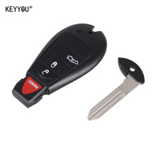 KEYYOU 4 Buttons Remote Case Smart Key Shell For Chrysler For Jeep For Dodge Durango Grand Caravan Grand Cherokee Dart with logo