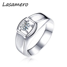 LASAMERO Ring for Men,0.08CT Round Cut Center Natural Diamond Ring 18k White Solid Gold Engagement Ring,Wedding Ring(China)