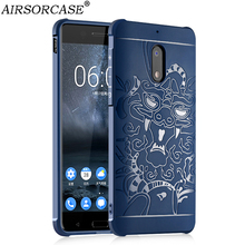 For NOKIA 6 Case 5.5'' for Nokia6 Cover 3D Carved Dragon Back Cover Shell Matte Silicone TPU Mobile Phone Cases(China)