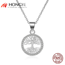 2017 Luxury 925 Sterling Silver Tree of Life Necklace & Pendant Ausrtrian Rhinestone Coin Fine Jewelry For Women Gift collares(China)