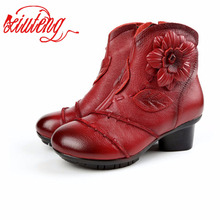 2017 New Winter Women Genuine Leather Boots Large Yard Winter Boots Solid Women Boots Warm Push Plush Winter Retro Shoes(China)
