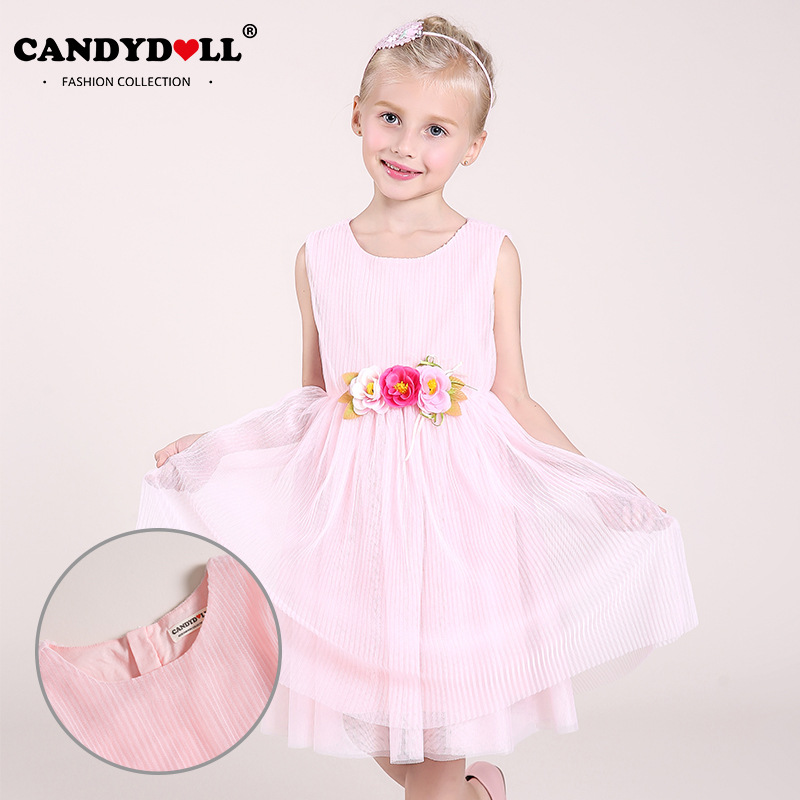 2017 summer new childrens clothing comfortable net yarn girls dress sleeveless princess dress<br>