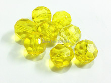 (Choose Size First) 10mm/12mm/14mm/16mm/18mm/20  Yellow  Transparent Big Faceted Beads
