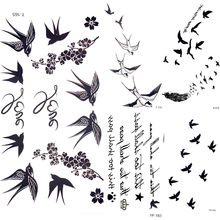 Cute Swallow Bird Feather Temporary Stickers Flower Branch Letter Water Transfer Tattoo Women Body Chest Arm Art Tattoo Men Hand(China)