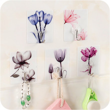 2pcs Lovely Flower Wall Hanger Cute Cloud Adhesive Sticky Traceless Stick Holder Kitchen Bathroom Towel Hangers WL
