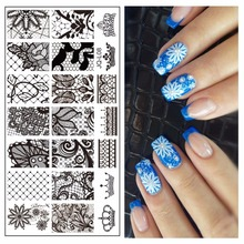 Lace Flower Designs Polish Print Nail Image Plate 60*120mm Nail Art Stencils Stamping Template #JQ-L08(China)