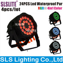 SLSLITE 4pcs/lot  24*10w rgbw outdoor led par 64 can 4IN1 waterproof par light tri color 24pcs outdoor RGBW 10W led par light