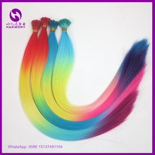 FREE SHIPPING 22inch 55cm 1g 100strands ombre rainbow color synthetic I tip hair extensions mciro link stick tip hair for party